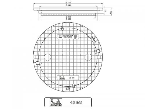 Stabiflex Schachtabdeckung Kunststoff NewEdition 15 kN Zeichnung/Masse