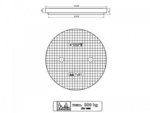 Stabiflex Schachtabdeckung Kunststoff SOLO 950-200kg Zeichnung/Masse