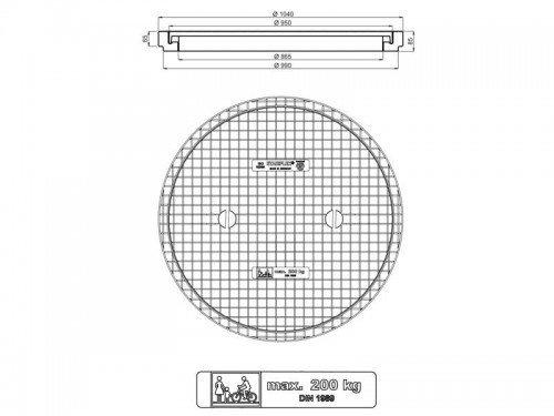 Stabiflex Schachtabdeckung-kunststoff BASIC XXL 200kg TWD Zeichnung/Masse